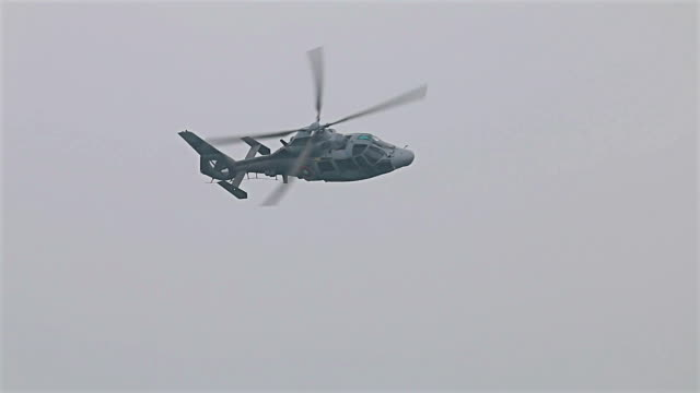 Flying military rescue helicopter Panter video