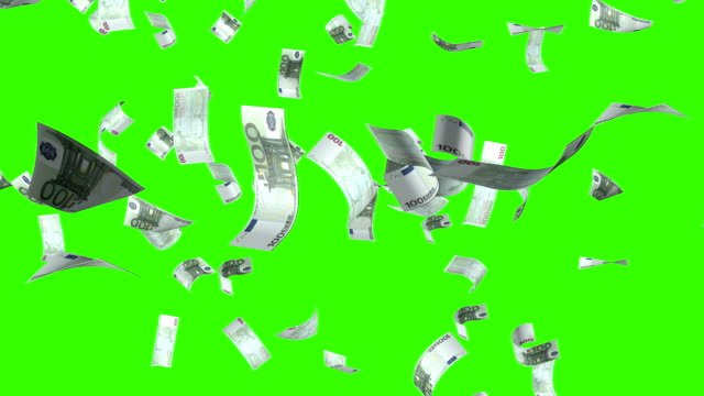 Flying of the euro banknotes.Isolated over green alpha video