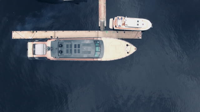 Flying over a large yacht video