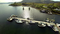 Flying over a small port in Isle of Skye video