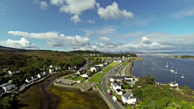 Flying over a village Kyleakin in Isle of Skye video