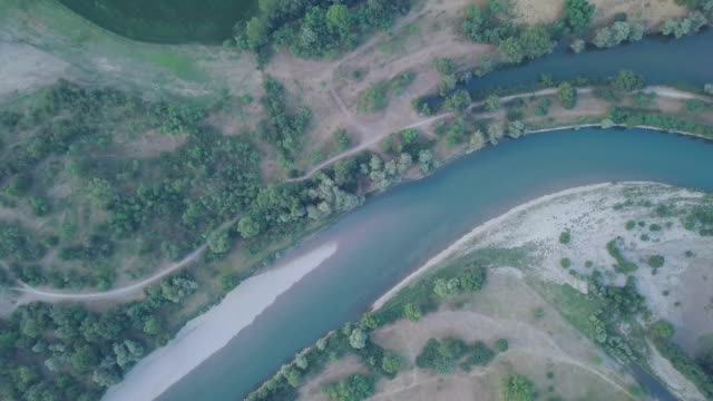 Flying over Adda River - Lombardy - Italy video