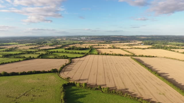 Flying over agricultural lands in Ireland video