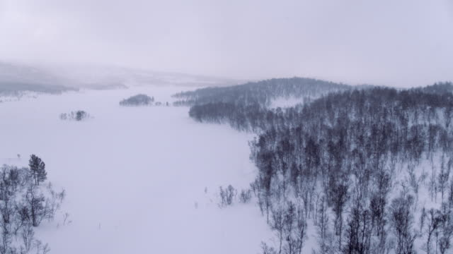 Flying over frozen landscape during snow storm video