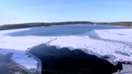 Flying over icy fresh water in the winter video