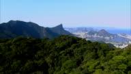 Flying over mountain tops overlooking, Rio de Janeiro video