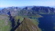 Flying over peak on Lofoten islands in Norway video