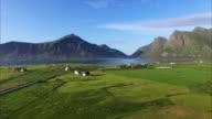 Flying over picturesque village Flakstad on Lofoten video