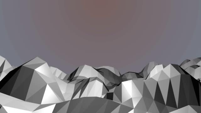 Flying over polygonal mountain video