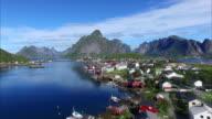 Flying over Reine on Lofoten islands, Norway video