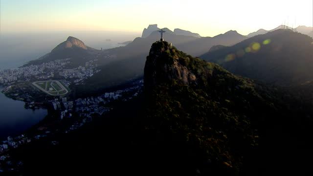 Flying over Rio de Janeiro, Brazil at sunset video