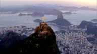 Flying over Rio de Janeiro, Brazil at sunset video