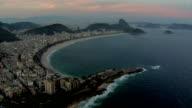 Flying over Rio de Janeiro, Brazil beach at dusk video