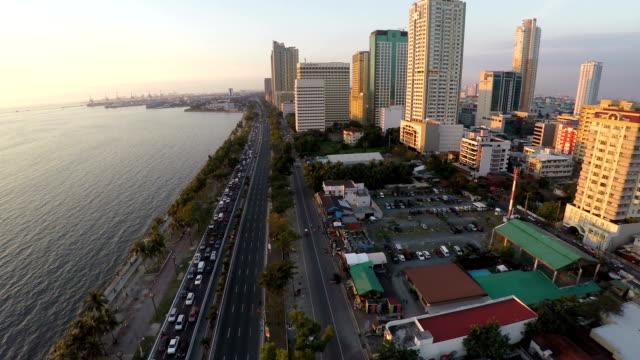 Flying over Roxas Bouleverd in Manila video