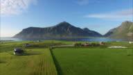 Flying over scenic village Flakstad on Lofoten video