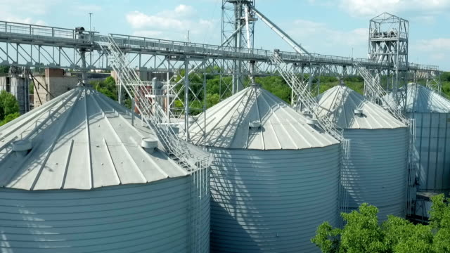Flying over silo storage video