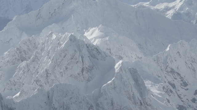 AERIAL: Flying over snowy mountains video