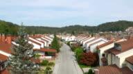 AERIAL: Flying over suburban row houses in quiet neighborhood video