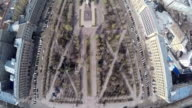 Flying over the central city square with monument video