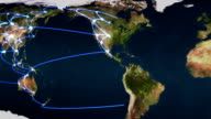 Flying over the Earth with blue connections video