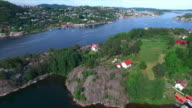 Flying over the pearl of the coast, Kragero, Norway video