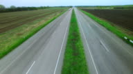 Flying over the road in the spring video
