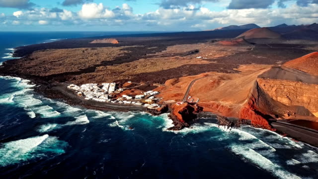Flying over volcanic Lake El Golfo, Lanzarote, Canary Islands video
