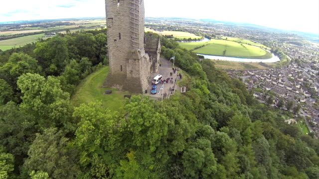 Flying over William Wallace monument in Stirling video