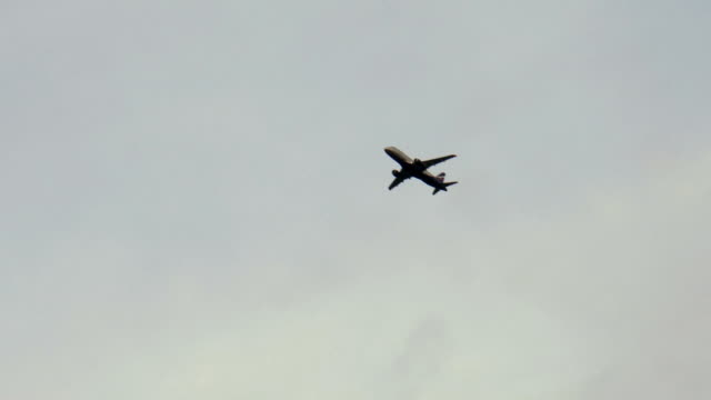 Flying plane in the sky video