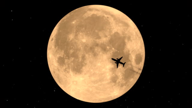 Flying Plane On Background Of The Moon video