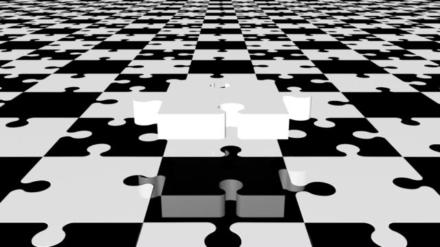 Flying puzzle piece in white and black colors video