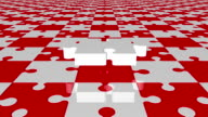 Flying puzzle piece in white on red and white colors video