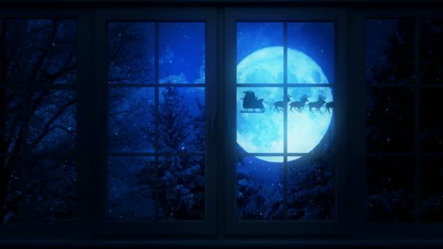 Flying Santa Behind The Window   Loopable video