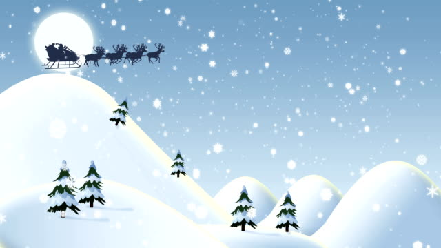 Flying Santa Claus With Merry Christmas Text Animation video