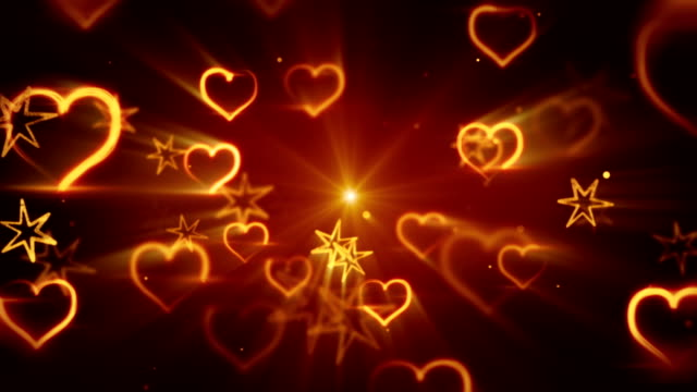 flying shiny heart shapes seamless loop background video