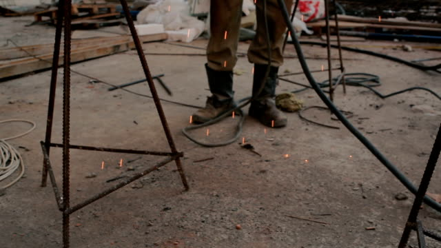 Flying sparks from the weld video