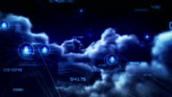 Flying through clouds with network connections. Night. Loopable. video