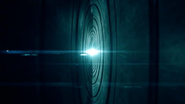 Flying through futuristic tunnel. Seamless loop video