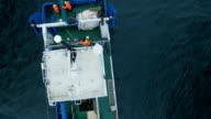 Flying towards a Commercial Fishing Ship that Pulls Trawl Net video