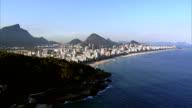 Flying towards Ipanema Beach Rio de Janeiro, Brazil video