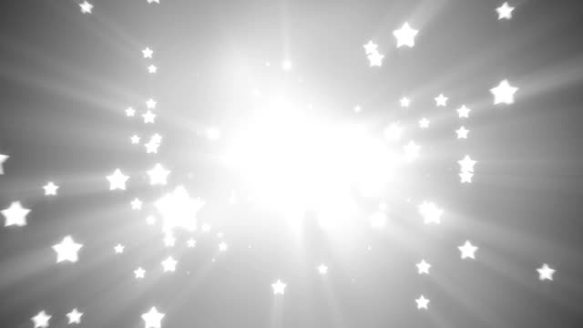 flying white star shapes loopable background video