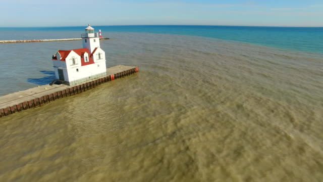 Flyover of Scenic Lighthouse on Lake Michigan video