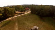 flyover view of old wooden windmill Aerial video