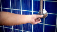 Focus of faucet, Shower stop valve by women video