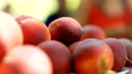 CU Focus Pull on pile of Peaches for sale on market stall. video