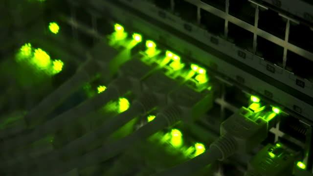 Focusing lights on network server in server room video