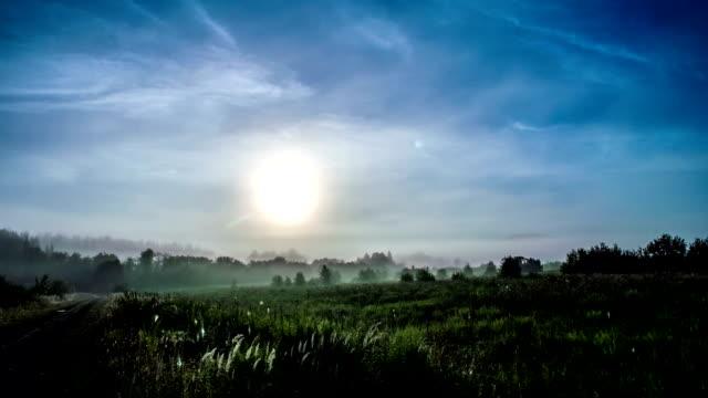 Fog at dawn, time laps FullHD video