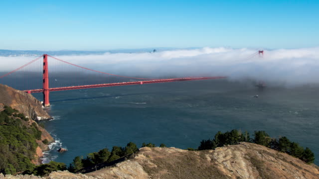 Fog at Golden Gate Bridge. 4K. video