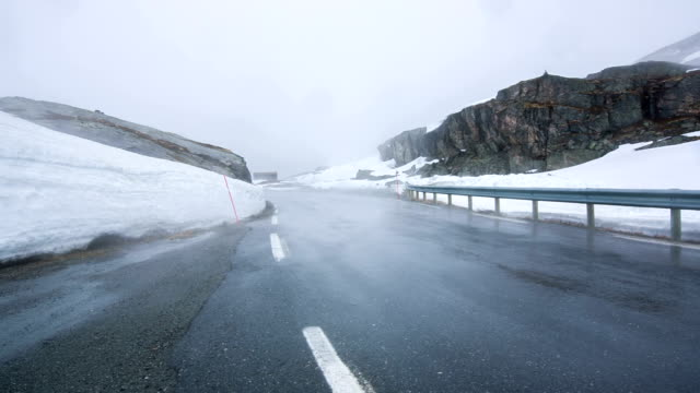 Fog on the road, Norway. video