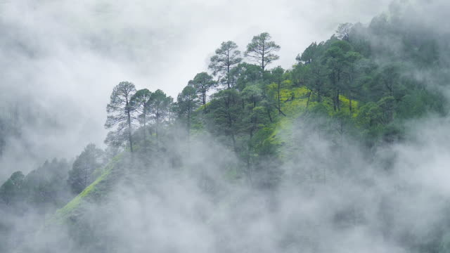Fog rolls across flowing over Mountains video